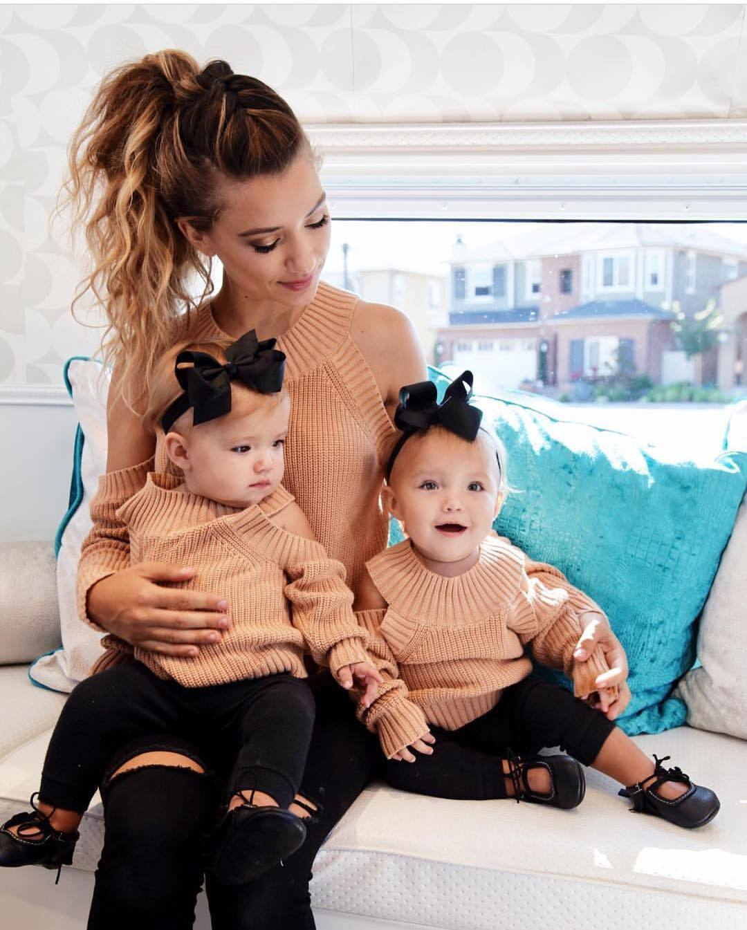 2018 fashion Family Matching Outfit sweaters Mom Baby cold shoulder Long Sleeve Knitwear ...