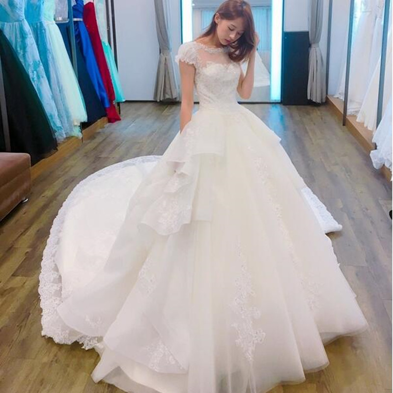 Vinca sunny Vestido De Noiva 2019 Sheer Back Princess Wedding Dress with Train shining Lace Bridal