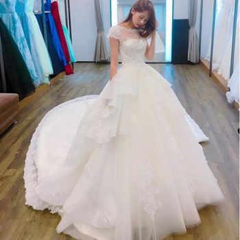 Vinca sunny Vestido De Noiva 2019 Sheer Back Princess Wedding Dress with Train shining Lace Bridal Gowns vestidos novias boda - DISCOUNT ITEM  45% OFF All Category