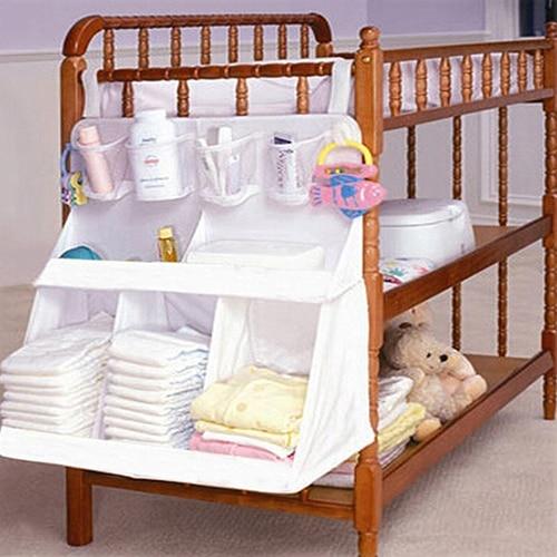 Baby Cot Crib Bed Hanging Sorting Storage Diaper Nappy Cloth Organizer Bag