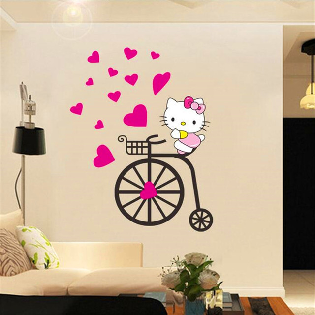 2018 New Cute Hello Kitty Wall Stickers For Kids Rooms Girls Pvc Stickers  Muraux Cartoon 3d