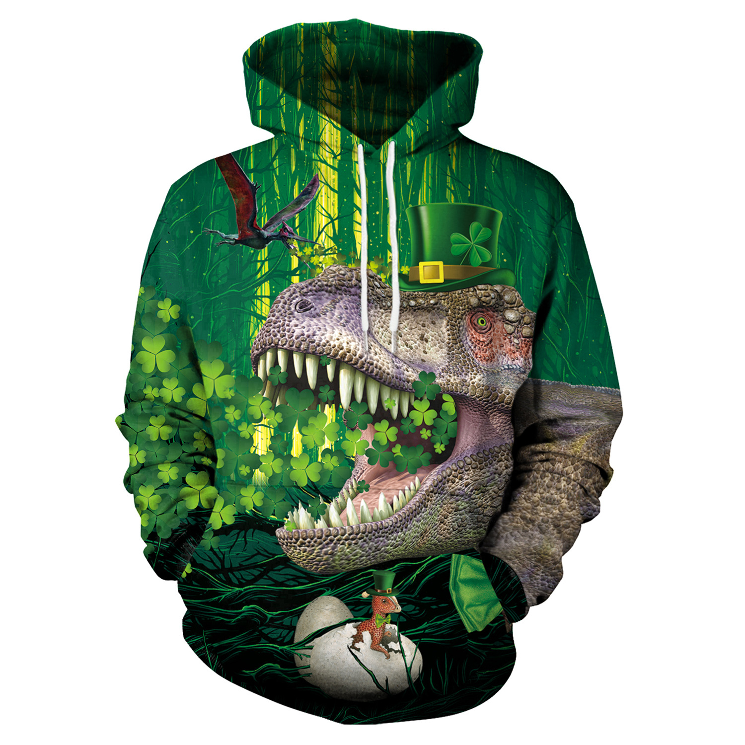 St Patrick's Day Green Shamrocks Dinosaur Print Hoodies Men Hoodie with Hat Round Neck Loose Sweatshirt Pullover Streetwear