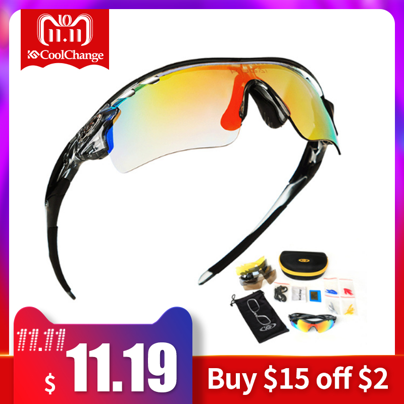 CoolChange Polarized Cycling Glasses Bike Outdoor Sports Bicycle Sunglasses For Men Women Goggles Eyewear 5 Lens Myopia Frame two tone frame flat lens sunglasses