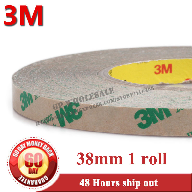1x 38mm*55M*0.13mm 3M 468MP 200MP Double Sided Pure Adhesive Film Tape, High Temperature Withstand for Automotive Appliance 3m 468mp 43mm 55m 0 13mm double sided adhesive tape 200mp metals paints wood bonding together for automotive appliance