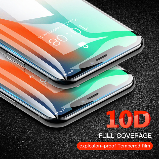 Protective Glass on iPhone 6 6s Plus X Xs Max XR Tempered 10D Curved Screen Protector