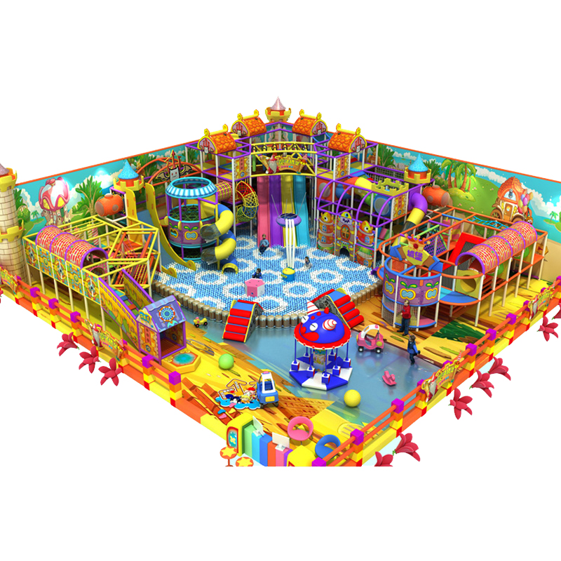 Customized Amusement Indoor Playground Fantastic Fun City Play Center With Volcano Slide Climbing Series YLW-IN180812