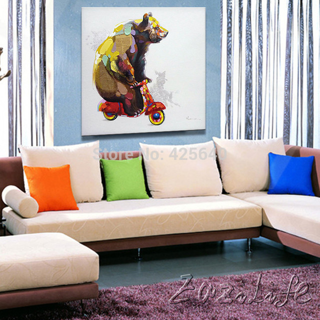 Oil Paintings On Canvas Wall Pictures For Living Room Art Pop Bear Modern Abstract