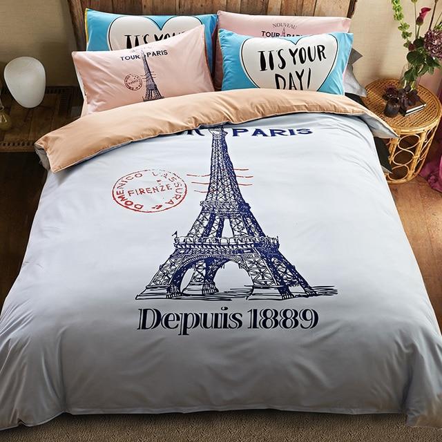 Stil Baumwoll Bettwäsche Set Eiffelturm Bett Eingestellt Housse De