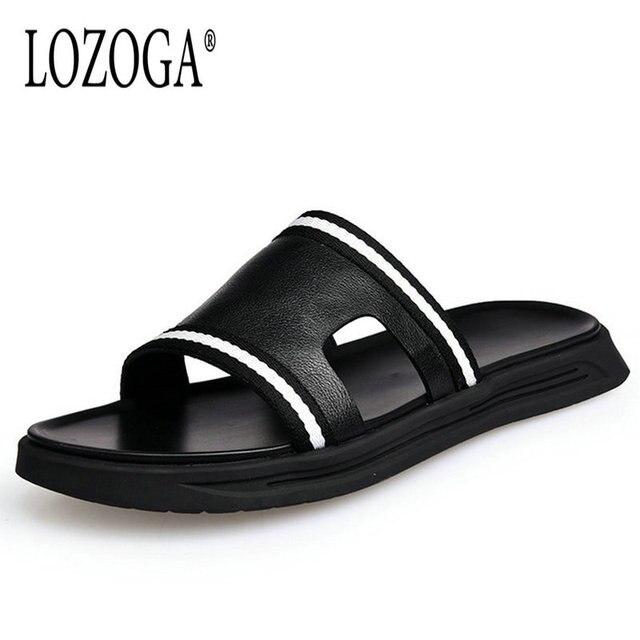 1e0117e1c Lozoga 2018 New Men s Slippers Cow Leather Luxury Slipper Summer Fashion  Beach Sandals Men Brand Shoes Slippers Mens Flip Flops