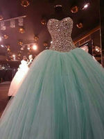 Beaded Ball Gown Quinceanera Prom Party Pageant Tull Mint Green Beaded Princess Birthday Ball Gown