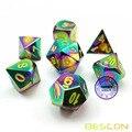 Bescon Fantasie Regenbogen Solide Metall Würfel Set von 7, heavy Duty Regenbogen Metallic Polyhedral D & D Rolle Spielen Spiel Würfel