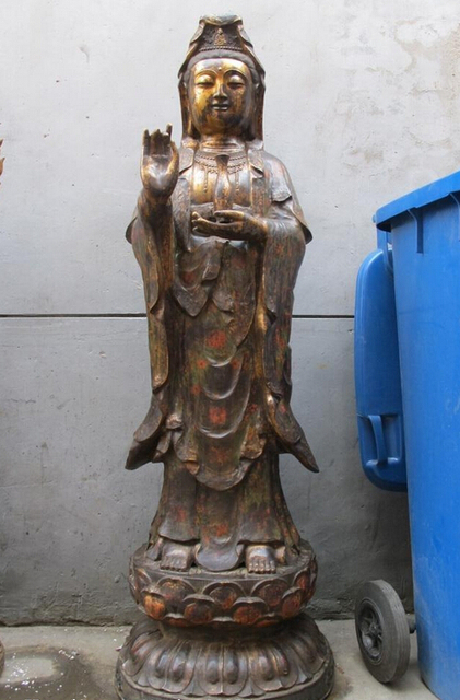 Shitou 002099 Large Tibetan Buddhist Old Bronze Cloisonne Kwan Yin  Bodhisattva Buddha Statue