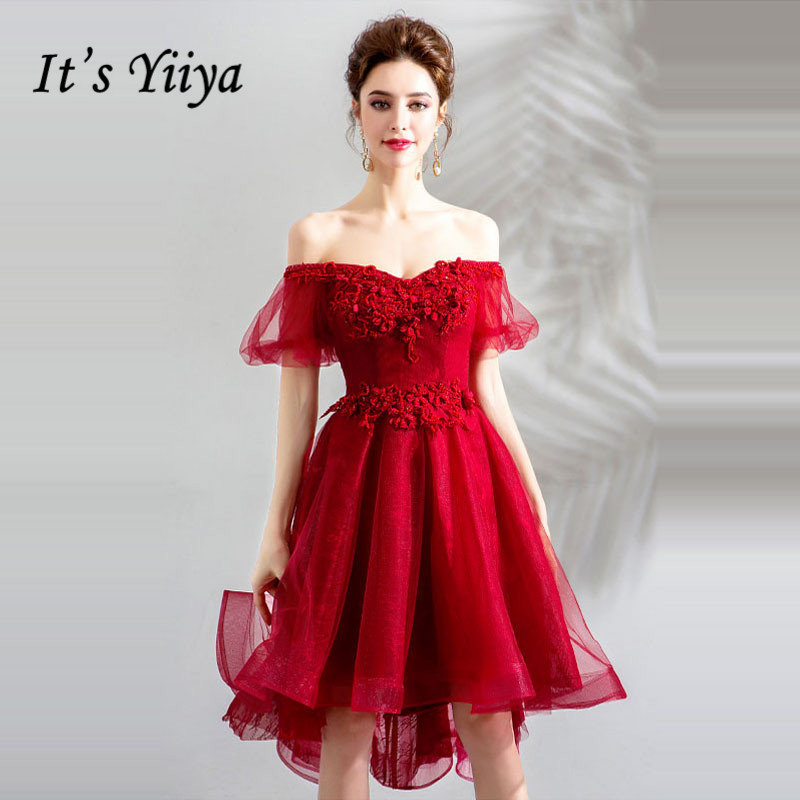 It's YiiYa   Cocktail     Dresses   Appliques Beading Embroidery Party Gowns Boat Neck Lantern Sleeve High Low Length Formal   Dress   E192
