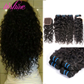 Vishine onda de agua peruana con cierre peruana virginal del pelo rizado con el encierro del pelo humano de la armadura 4 bundles con lace closure