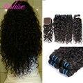 Vishine peruano onda de água com fechamento peruano virgem cabelo com encerramento curly weave do cabelo humano 4 bundles com lace closure