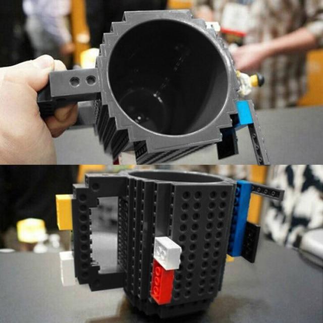 1Pc 12oz Build-On Brick Mug Type Building Blocks Coffee Cup DIY Block Puzzle Mug Portable Drinkware Drinking Mug 4 Colors 4
