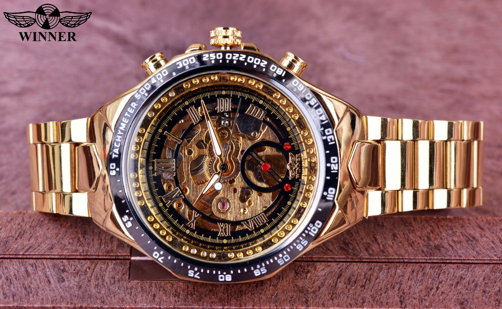 Winner New Number Sport Design Bezel Golden Watch Mens Watches Top Brand Luxury Montre Homme Clock Men Automatic Skeleton Watch 2