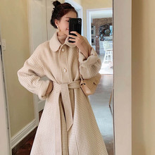 OLN 2019 New Style Autumn Winter Woolen Coat Herringbone Plaid Temperament Waist Turn-down Collar Thin Double-sided 1610