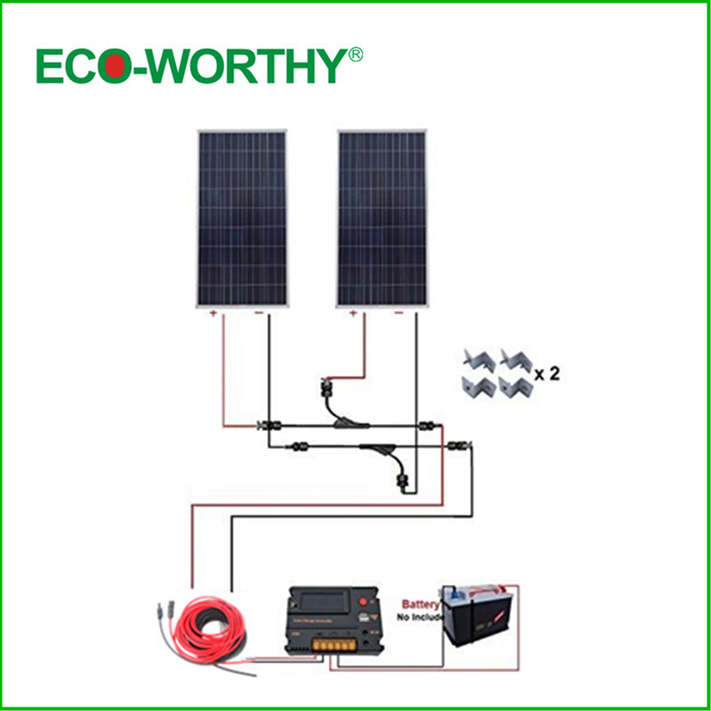 USA UK Stock 300W 12V off Grid COMPLETE KIT: 2*150W Solar Panel with Temperature Reguator dc house usa uk stock 300w off grid solar system kits new 100w solar module 12v home 20a controller 1000w inverter
