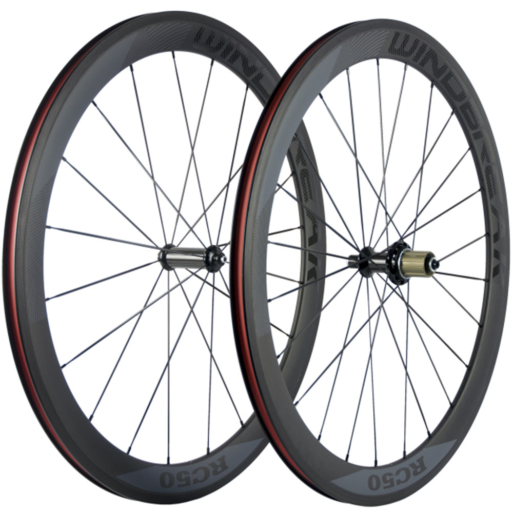 Carbon Road Wheels China WINDBREAK 50mm Carbon Wheelset Clincher Racing Bicycle Wheel With R36 Hub Road Bike carbon road wheel ceramic bike hub 700c 88mm clincher racing wheel wholesale carbon road racing wheel