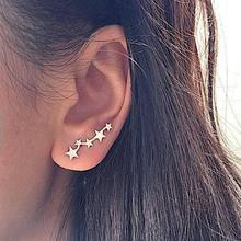 3aebaebc2 Korean Style Sweet Small Star Earrings Silver Gold Stud Earrings Female  Simple Minimalist Jewelry Accessories Brincos
