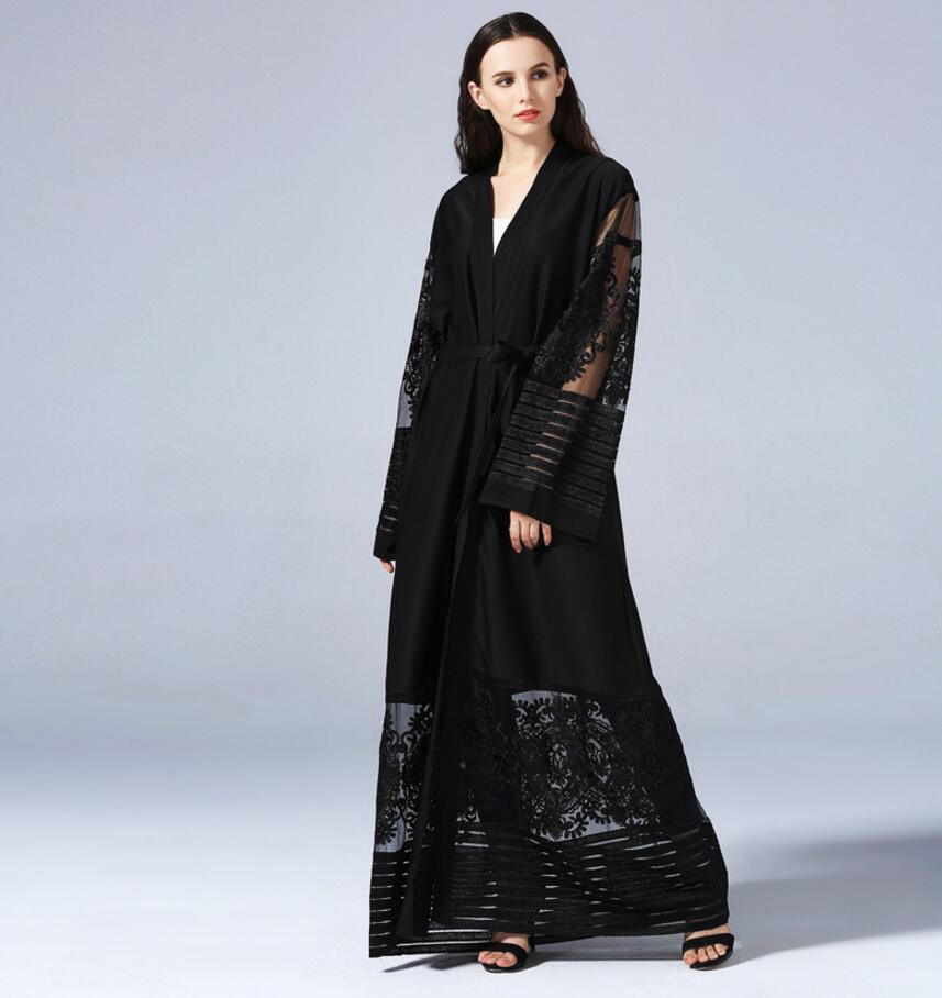 2018 Muslim Dress Abaya in Dubai long dress Islamic robe lace mesh Women Muslim Cardigan Jilbab Djellaba Robe a642