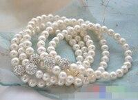 01253 wholesale Stretch white pearl gemmy bead bracelet 5pcs