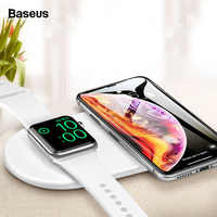 Baseus Qi Wireless Charger For Apple Watch iWatch 4 3 2 1 2in1 Fast Wireless Charging Pad For iPhone 11 Pro Max X Samsung S10 S9