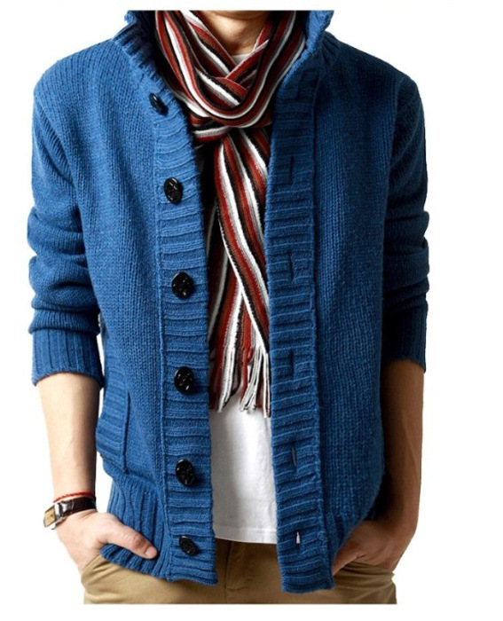 New!Korean Mens slim fit cardigan sweaters button knitted cardigan slim wool Casual men shawl collar cardigan M-2XL