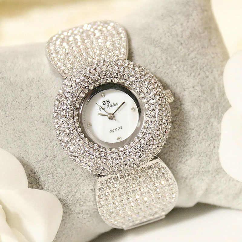 SEYRNOW Senhoras Relógios 2018 Pulseira de Relógio de Quartzo Relógio de Ouro Cheio de Diamantes Sexy Mulheres Melhores Relógios para As Mulheres Montre Femme