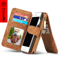 For IPhone 7 5 6 6s Plus Flip Leather Case Zipper Mini Man Purse Wallet Card