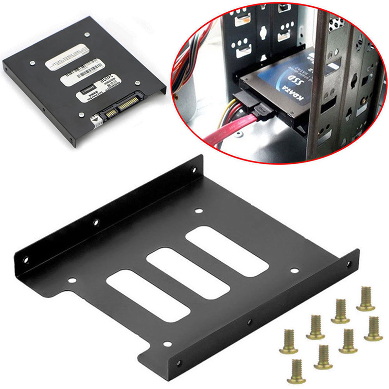 Useful <font><b>2.5</b></font> Inch <font><b>SSD</b></font> HDD To <font><b>3.5</b></font> Inch Metal Mounting Adapter Bracket Dock 8 Screws Hard Drive Holder For PC Hard Drive Enclosure image