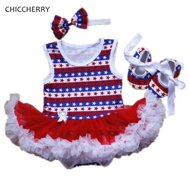 Estrella de Impresión Bebé Ropa de Niña de Verano Niño Lace Dress Romper cuarto de Julio Trajes Infantil Tutú y Diadema Establecen Ropa De Bebe
