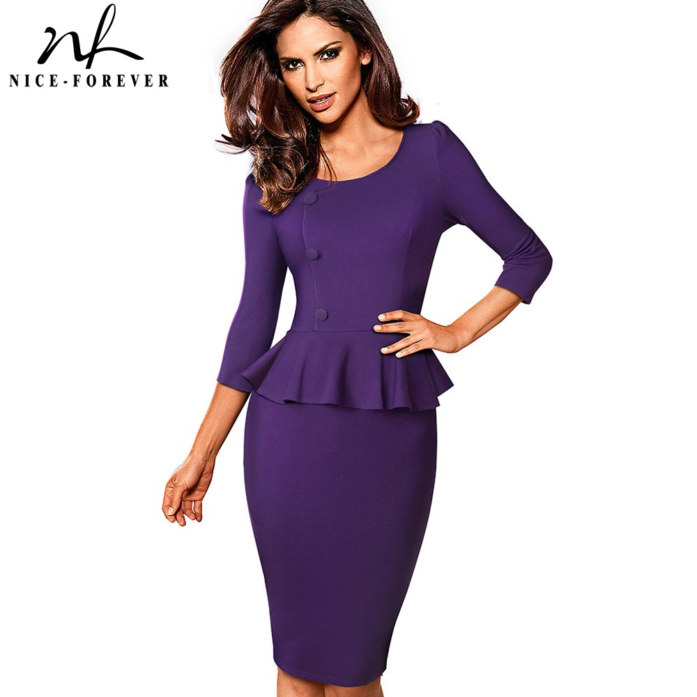 Nice-forever Elegant Solid Color Wear To Work With Button Peplum Vestidos Business Office Party Bodycon Women Autumn Dress B542