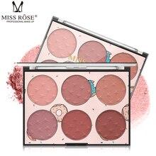 6Colors/Set Grooming Face Highlighter Powder Illuminated Face Blush Powder Matte Blush Palette Waterproof Makeup Cosmetics TSLM1