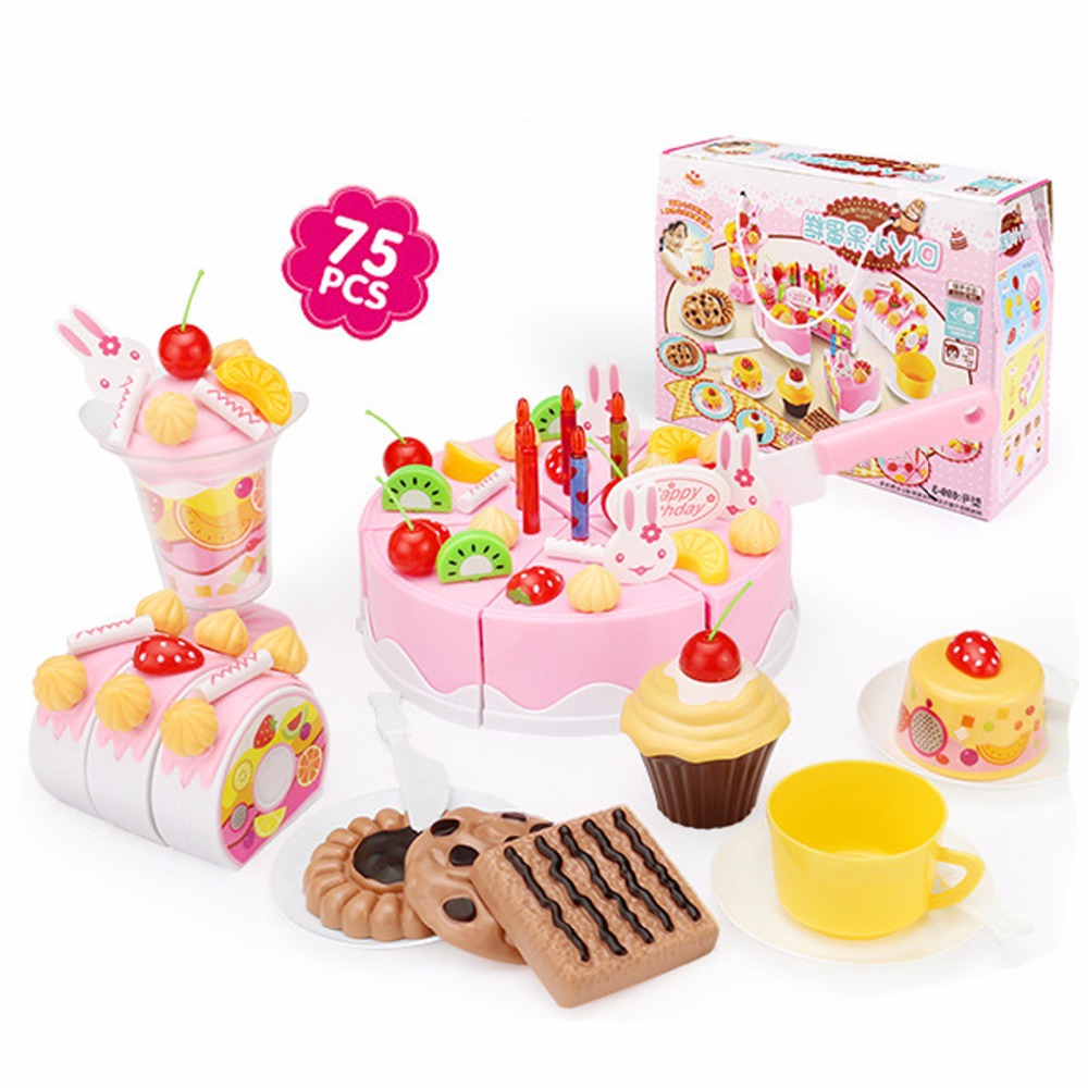 Plastic Cutting <font><b>Birthday</b></font> Cake DIY Model Children Kids Early Educational Classic Toy Pretend Play Kitchen Food Toys Gift For Baby