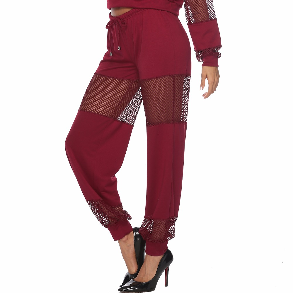 PGSD Autumn winter Simple Pure color fashion Women 39 s clothes Sexy hollow Mesh splicing leisure sports Long sleeves Suit female in Women 39 s Sets from Women 39 s Clothing