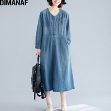 DIMANAF Plus Size Women Dress 2019 New Autumn Vintage Denim Cotton Big Loose Female Vestidos Casual Long Sleeve Basic