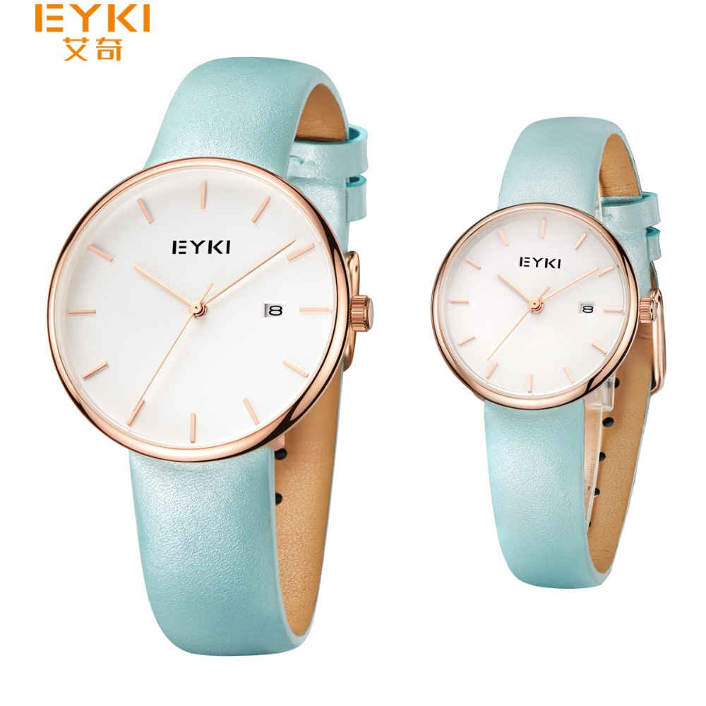 2017 Eyki Couple Wristwatches Rose Gold Simple Style Younger Quartz Watch Man Ladies Fashion Dress Relogio Feminino Male Clock envmenst 2017 male floral bottom blue hole ankle length jeans men s jeans casual zipper straight denim trousers size 28 40