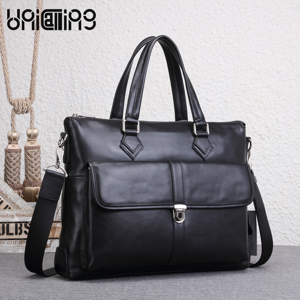 UNICALLING men leather briefcase premium quality genuine leather men handbag fashion men