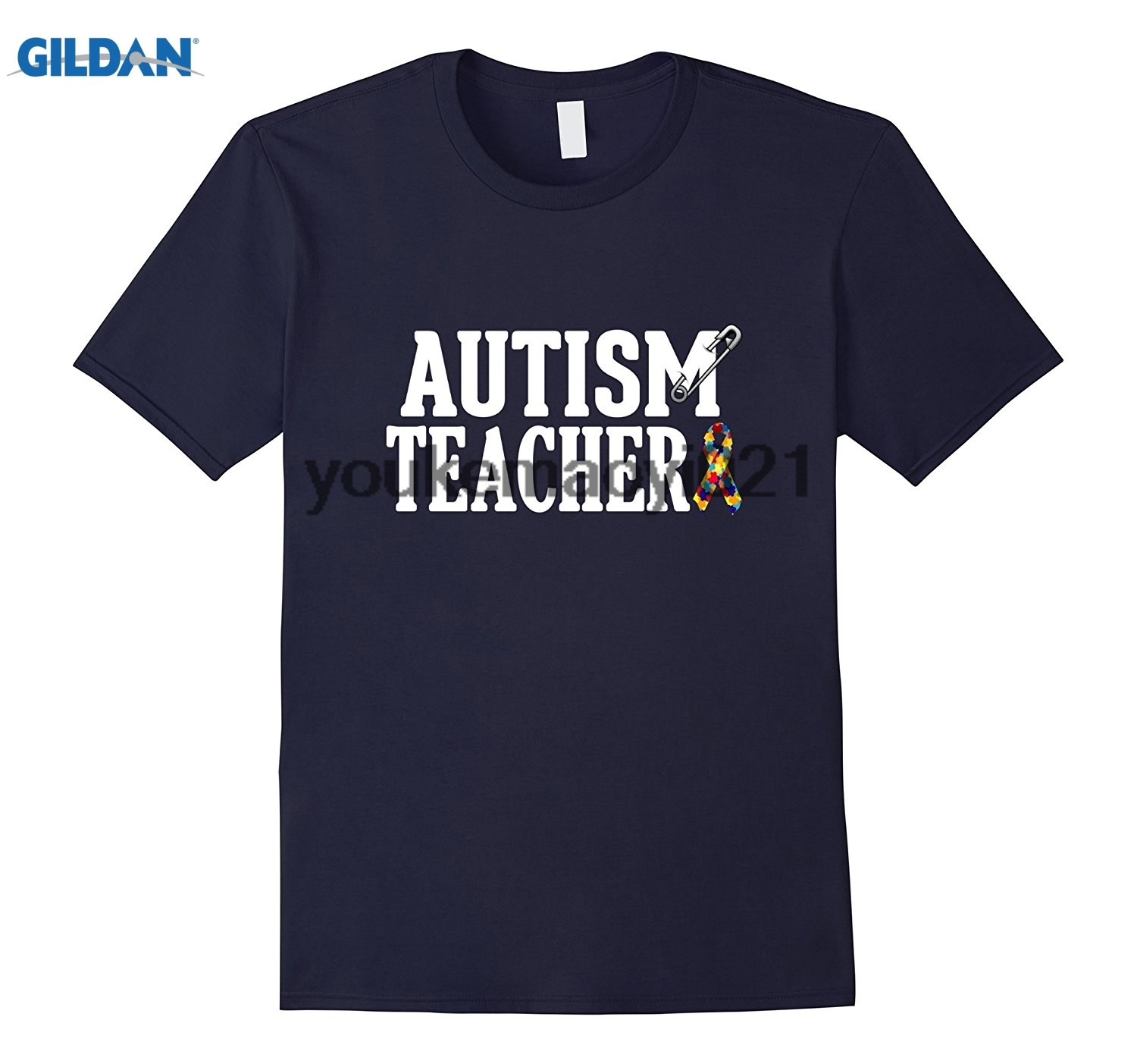 GILDAN Autism Teacher Safety Pin Awareness Shirt