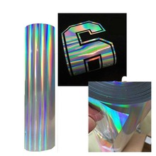 Heat transfer vinyl width 20 inch length free to be customized heat transfer hologram vinyl iron on for htv T-shirts DIY clothes 0 5 15m 20 x 42 21 glitter heat transfer vinyl for cloth purple color cuttable pu flex vinyl film for t shirt iron on vinyl