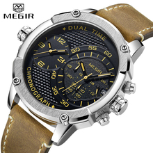 цена на Mens Watches MEGIR Luxury Big Dial Military Sport Quartz Wrist Watch Men Leather Casual Waterproof Clock Male Relogio Masculino