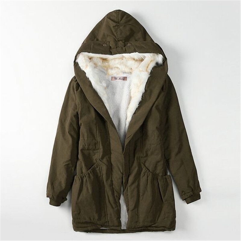 OLGITUM 2017 winter jacket women s parkas coat army green fur collar hooded woman outwear loose
