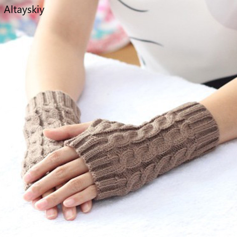Arm Warmers Women Solid Twist Knitting Winter New Warm Half-fingered Womens Arms Warmer Simple All-match Kawaii Trendy Chic Mitt