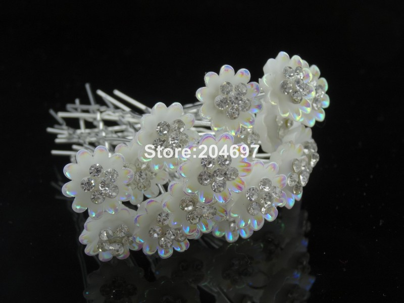 Feelgood 200pcs lot Resin Flower Hair Pins With Crystal Stone Bridal  Jewelry Wedding Hair Accessories Wholesale-in Hair Jewelry from Jewelry    Accessories ... 7b7caf582671
