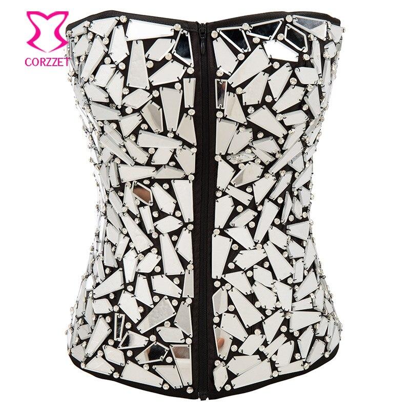 Punk Style Shiny Mirror Beading Rhinestones Gothic   Corset   Sexy   Bustier   Zipper Espartilhos E Corpetes Corselet Burlesque Clubwear