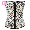 Punk Style Shiny Mirror Beading Rhinestones Gothic <font><b>Corset</b></font> Sexy <font><b>Bustier</b></font> Zipper Espartilhos E Corpetes Corselet Burlesque Clubwear