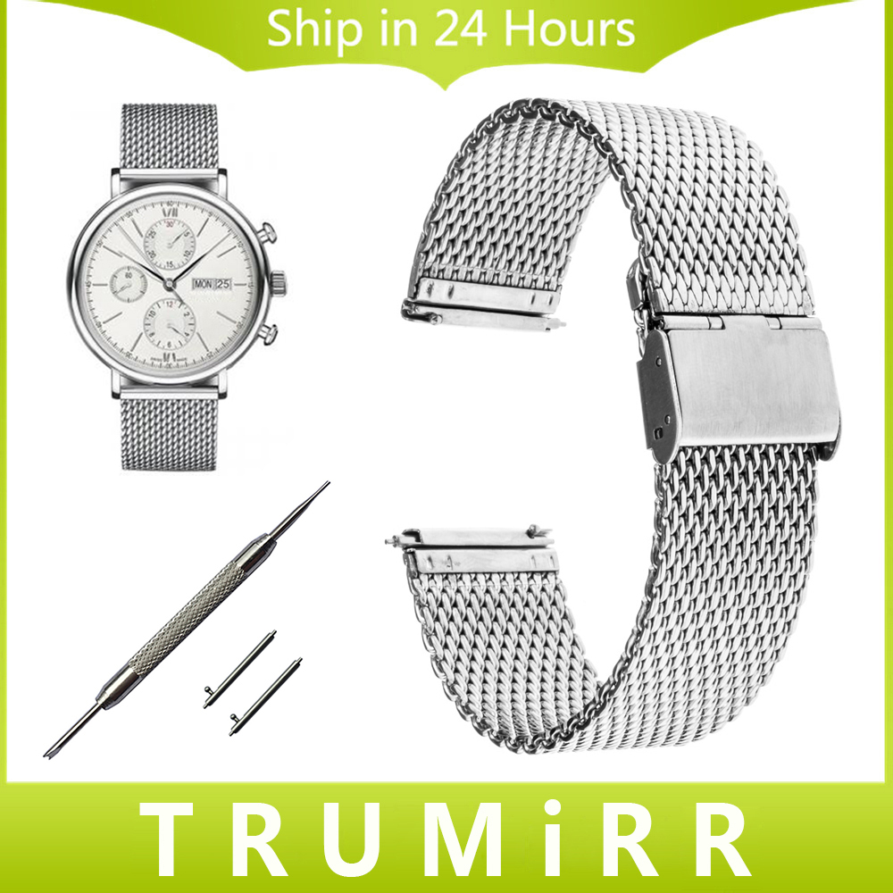 20mm 22mm Milanese Watchband + Quick Release Pins for IWC Watch Band Stainless Steel Strap Wrist Bracelet Black Silver + Tool 20mm 22mm quick release watchband for iwc watch band 5 pointer stainless steel strap wrist belt bracelet black silver tool pin