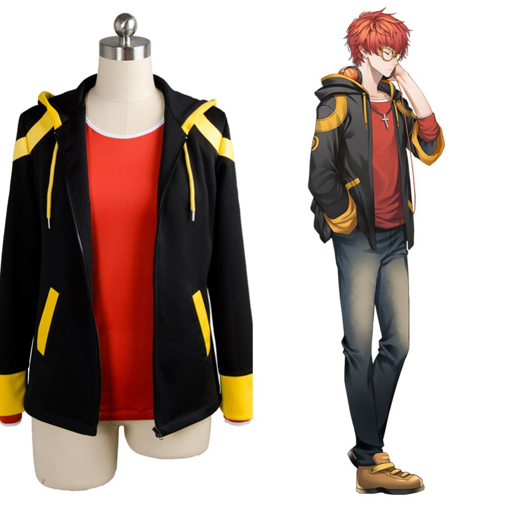 Anime Mystic Messenger Cosplay Costume 707 Saeyoung Luciel Choi Outfit Halloween Costumes Hooded Jacket Hoodies Coat T-shirt Set